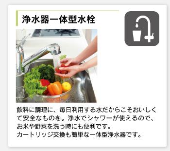 浄水器一体型水栓/飲料に調理に、毎日利用する水だからこそおいしくて安全なものを。浄水でシャワーが使えるので、お米や野菜を洗う時にも便利です。カートリッジ交換も簡単な一体型浄水器です。